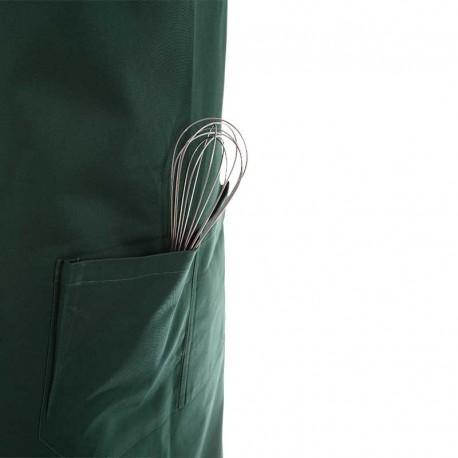 tablier a bavette couleur vert foncé avec deux poches sur le ventre