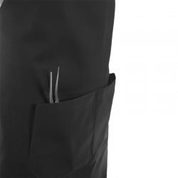 tablier de cuisine a bavette gris avec poches doubles sur le devant