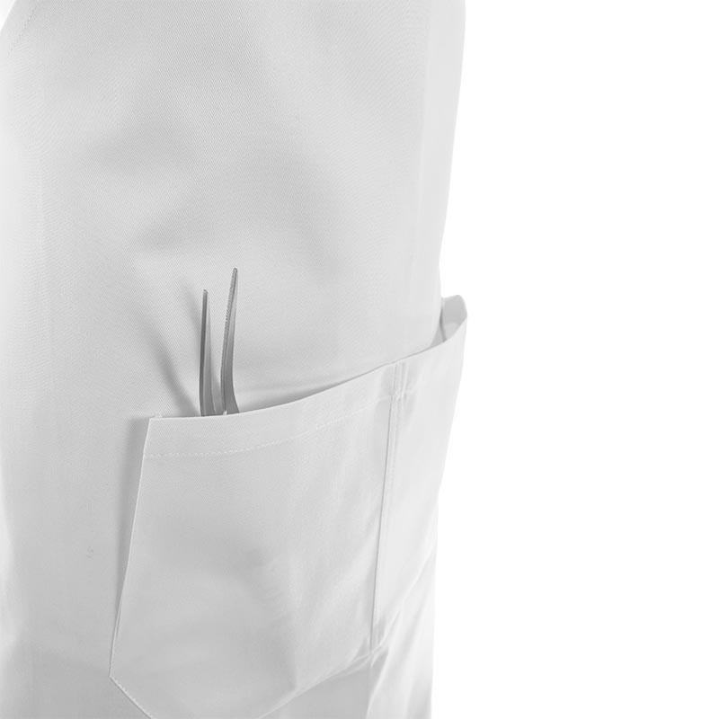 tablier a bavette blanc avec 2 grandes poches ventrales