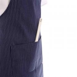 Tablier a bavette bleu rayures blanches à poche double centrale