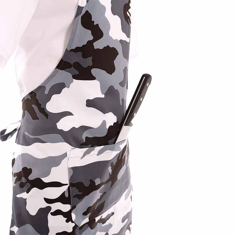 Tablier a bavette motif militaire noir et blanc