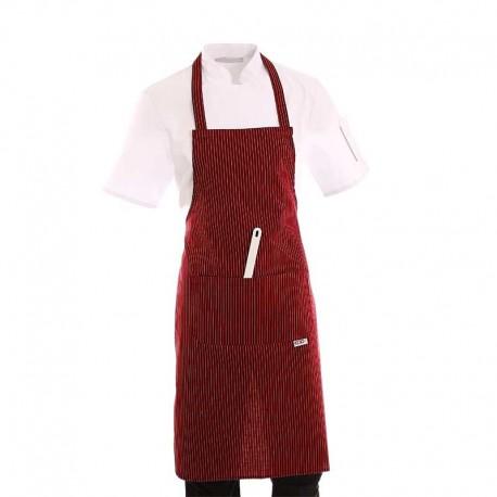 Tablier de cuisine a bavette bordeaux rayé  blanc