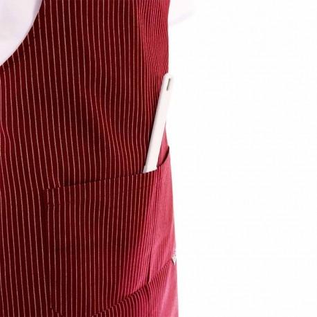 Tablier a bavette bordeaux rayures blanches avec poche double