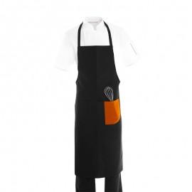 Tablier a bavette et bande couleur orange pour patissier