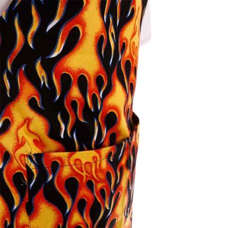 Tablier a bavette motif flamme a double poche centrale