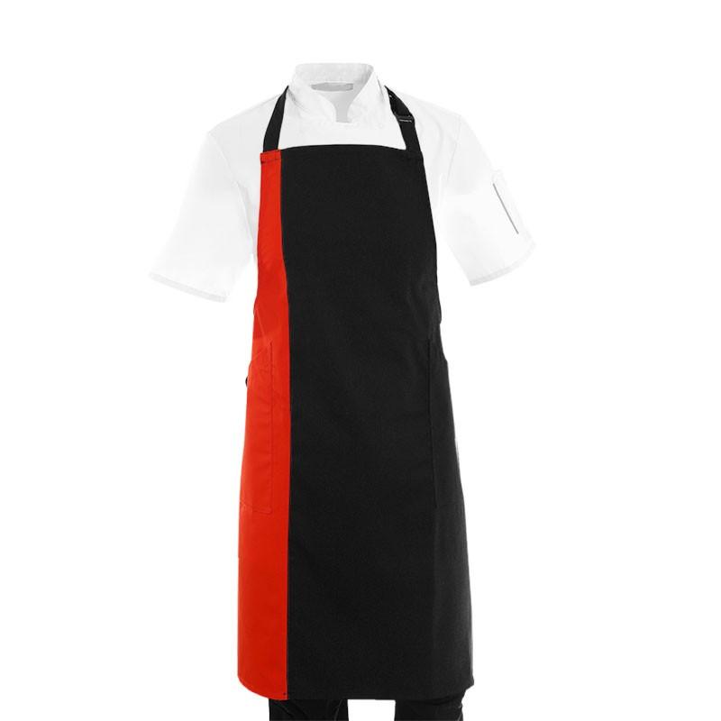 Tablier de cuisine bicolore noir et rouge