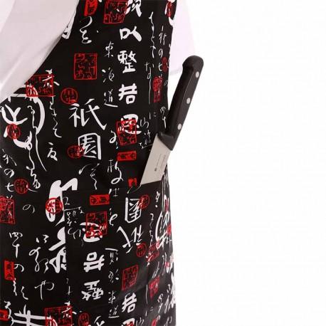 Tablier a bavette de service motif chinois avec poche ventrale