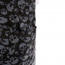 Tablier de cuisine a bavette motif tete de mort noir et gris et double poche ventrale