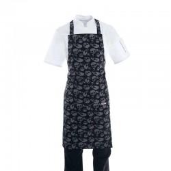 Tablier de cuisine a bavette motif tete de mort noir et gris