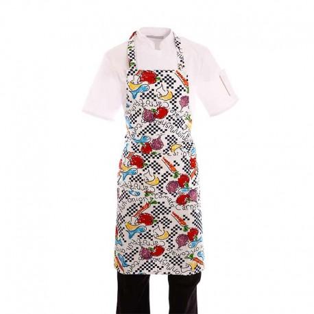 Tablier de cuisine a bavette motif légumes