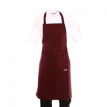 Tablier de cuisine a bavette motif pied de poule rouge