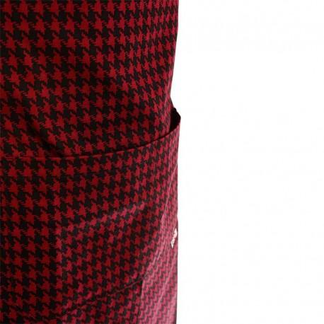 Tablier de cuisine a bavette motif écossais rouge à double poche