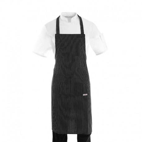 Tablier de cuisine a bavette noir a fines rayures blanches