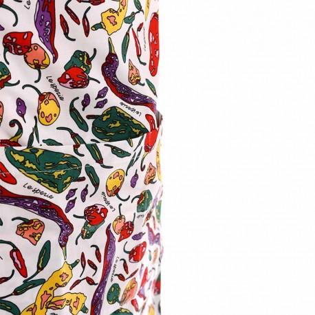 Tablier a bavette motif piment a double poche centrale