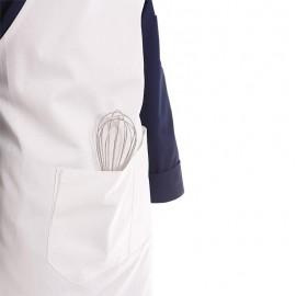 tablier de cuisine à bavette blanc double poche centrale