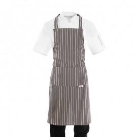 Tablier de cuisine a bavette gris a grosses rayures blanches