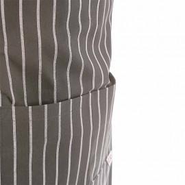 Tablier de cuisine a bavette rayé gris et blanc à double poche
