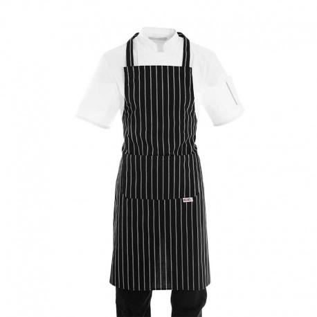 Tablier de cuisine a bavette noir a grosses rayures blanches