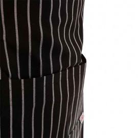 Tablier de cuisine a bavette rayé noir et blanc à double poche