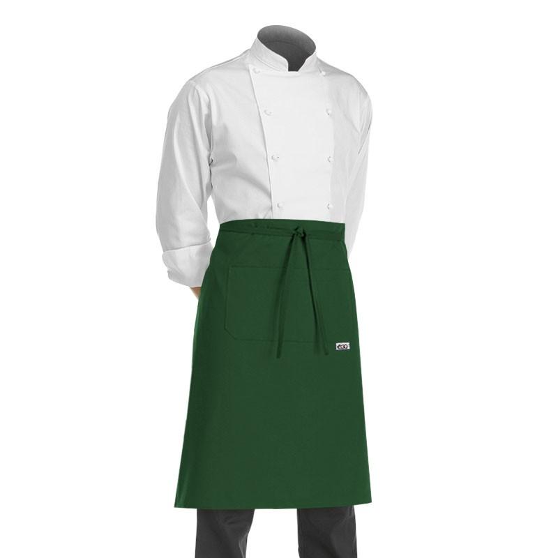 tablier de cuisine demi chef vert (hauteur 70cm x largeur 70cm)