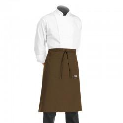 tablier de cuisine demi chef marron ou chocolat (hauteur 70cm x largeur 70cm)