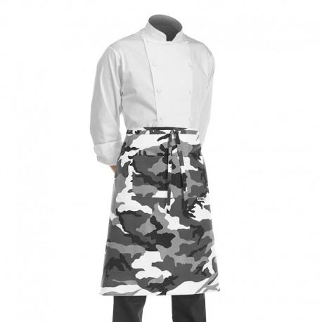 demi tablier de cuisine gris et blanc motif camouflage