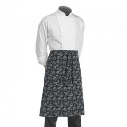 tablier de cuisine demi chef noir avec motif de crânes ou de têtes de mort gris