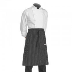 demi tablier de cuisine noir avec fines rayures blanches