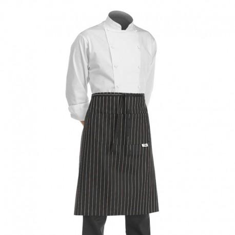 tablier cuisine demi-chef noir à grosses rayures blanches