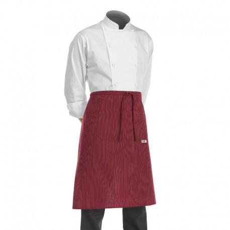 tablier 1/2 chef pour cuisinier, boulanger, patissier en version bordeaux rayé de blanc