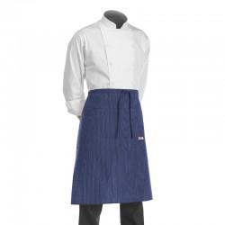 demi tablier de chef pour cuisinier, boulanger, patissier, modele bleu a fines rayures blanches