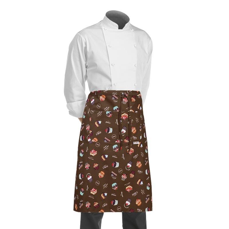 tablier 1/2 chef chocolat avec des motifs de cupcakes