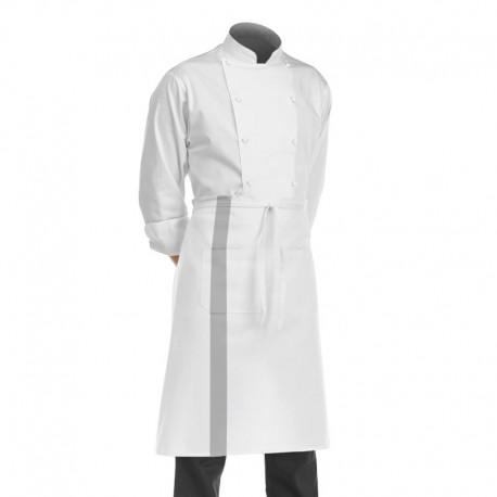 demi tablier de cuisine blanc avec bande couleur grise 100% coton
