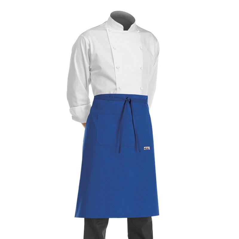 tablier de cuisine demi chef bleu royal (hauteur 70cm x largeur 70cm)