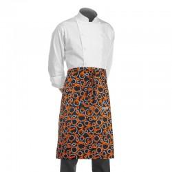 tablier demi chef noir avec un motif de homards oranges