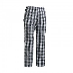 Pantalon de Cuisine motif Carreaux Noirs écossais pour homme et femme