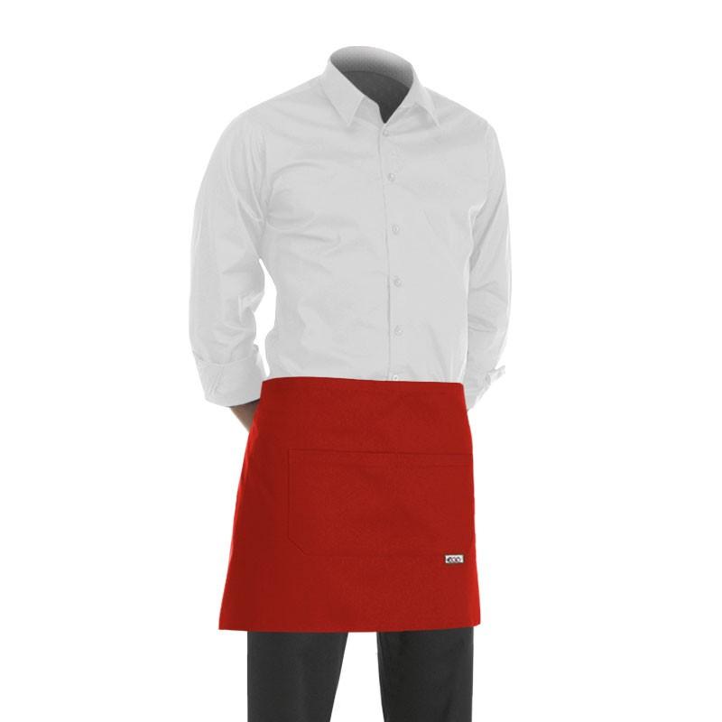 Tablier De Cuisine Court 40cm Couleur Rouge Egochef