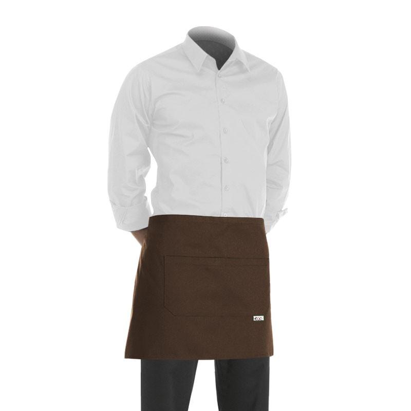 tablier court marron 40cm pour cuisinier, serveur, barman, barmaid, ...
