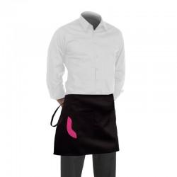 Tablier de cuisine noir poche avec bande fuschia