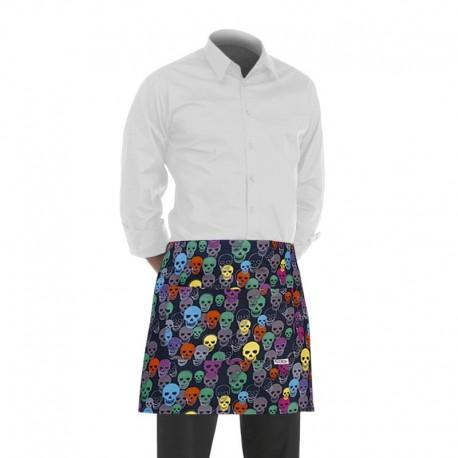 tablier de cuisine court avec un motif composé de crânes multicolores (hauteur : 40cm x largeur : 70cm)