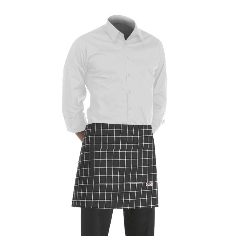 tablier de cuisine court noir avec un motif quadrillage blanc (h 40cm x l 70cm)