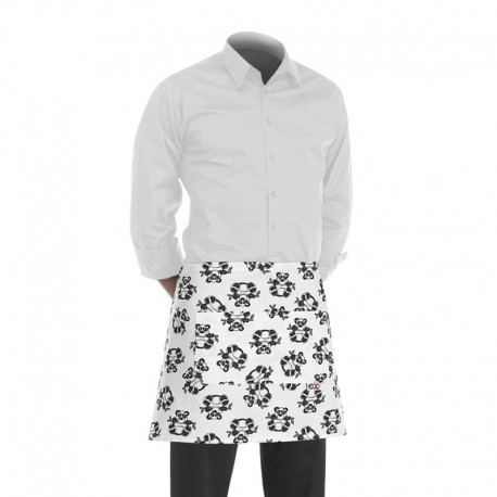 tablier de cuisine court balnc avec un motif panda (h 40cm x l 70cm)