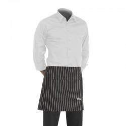 tablier de cuisine court noir finement rayé de blanc (h 40cm x l 70cm)