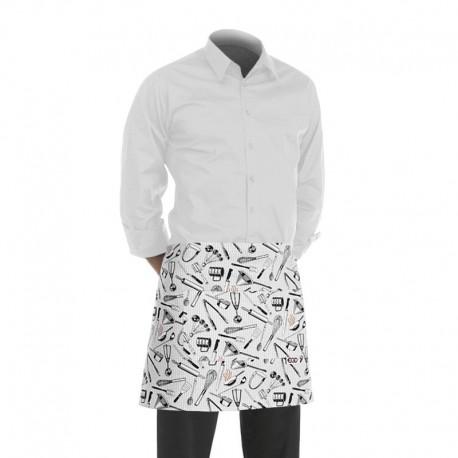 tablier de cuisine court blanc avec motif patissier (h 40cm x l 70cm)