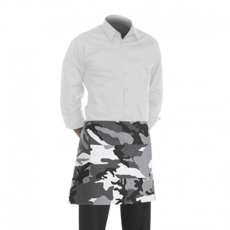 tablier de cuisine court blanc avec motif camouflage (h 40cm x l 70cm)