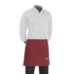 tablier de cuisine court bordeaux avec motif fines rayures blanches (h 40cm x l 70cm)
