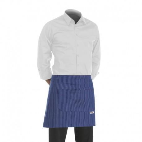 tablier de cuisine court bleu avec motif fines rayures blanches (h 40cm x l 70cm)
