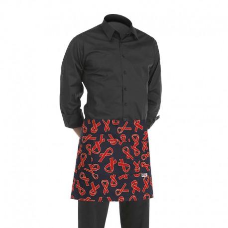 tablier de cuisine court noir avec motif ruban rouge sidaction (h 40cm x l 70cm)