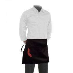 Tablier de cuisine noir de 40cm avec une poche ornée d'un liseré bordeaux