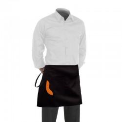 Tablier de cuisine noir court avec une poche à liseré orange
